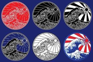 Orient ocean wave line art illustration vecter vector