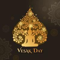 Vesak day with buddha sitting under and Thai art pattern decoration background vector