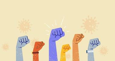 manos arriba juntas luchan contra el coronavirus 2019-ncov ilustración vectorial.
