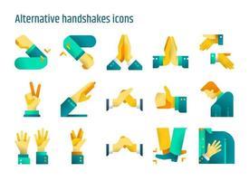 Alternative handshakes flat icons vector set.
