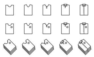 conjunto de iconos de camiseta - vector. estilo de forma doblada. vector