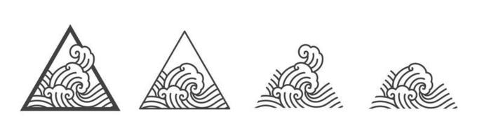 Oriental ocean wave line illustration. Japan wave vector