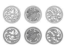 Conjunto de líneas de ondas de agua japonesas, tailandesas y chinas. vector