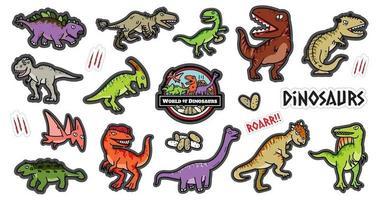 Conjunto de dibujos animados de diseño de personajes de dinosaurio. vector
