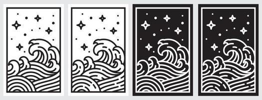 Oriental wave line illustration. Japan wave vector