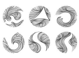 Abstract windy line set. vector