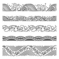 Wave seamless patterns vector.