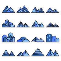 Mountain icon vector set on white background