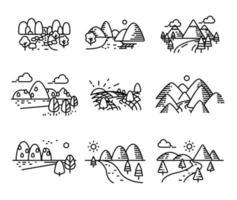 Conjunto de vectores de una sola línea con vistas al río y al mar.