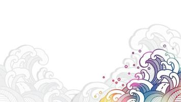 Colorful oriental water wave in paper cut style. vector