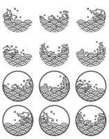 Símbolos de logotipo de línea de onda de agua. vector