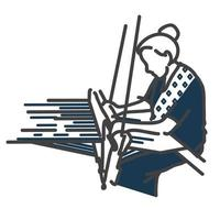 A woman hand weaving and dyeing drawing with single line stroke style. Wearing an indigo fabric and local textiles. vector