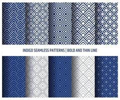 Japanese patterns,indigo color seamless wallpapers vector. vector