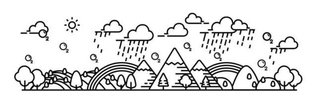 Ilustración de vector de vista panorámica lluviosa de bosque y colina.