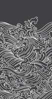 Japan ocean wave seamless black background vector