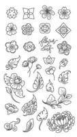 clip arts de línea de flores y hojas. vector