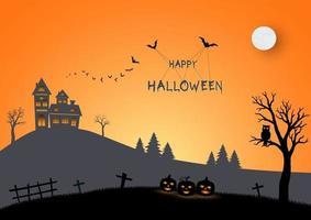 feliz halloween escena en papel arte y estilo artesanal vector