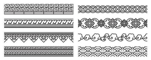Thai art line seamless borders. Old lace patterns. vector
