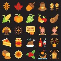 Thanksgiving day flat icon set vector