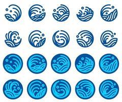conjunto de vectores de diseño de logotipo de onda de agua