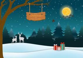 Feliz navidad y feliz año nuevo tarjeta de felicitación con escena nocturna en el fondo del bosque con cartel de madera y cajas de regalo