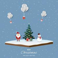 Merry Christmas and happy new year with Santa Claus, snowman and gift boxes on isometric landscape vector