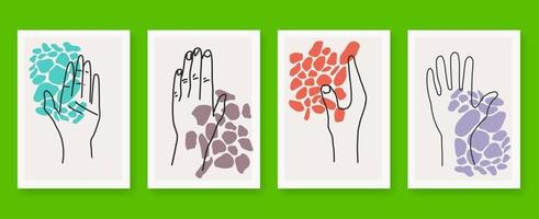 Abstract arts hand outline poster set vector