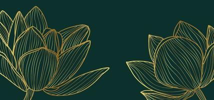 Abstract gold outline leaves vector