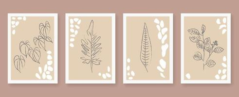 Abstract floral outline poster set vector