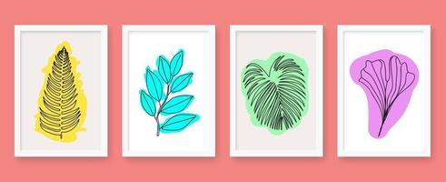 Abstract leave outline poster set vector