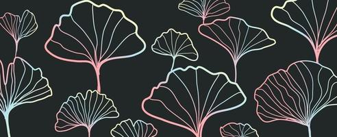 Abstract gradient line leaf pattern vector