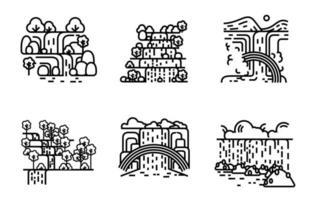 Waterfall icon set. Flat line illustration. vector