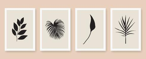 Abstract arts leaves poster set vector