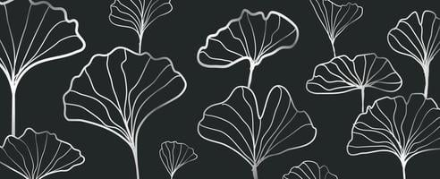Abstract ginkgo leaves outline pattern vector