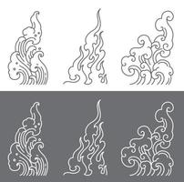Oriental water and fire and  cloud symbolic vector. vector