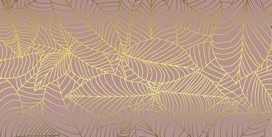 Abstract gold lines leaf pattern vector