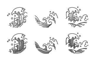 Big wave line logo template.Japanese.Thai. vector