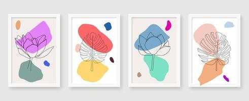 Abstract floral retro line poster set vector