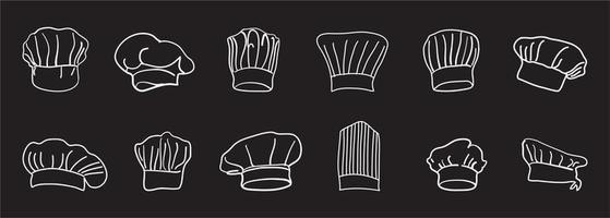 Chef hat line set vector