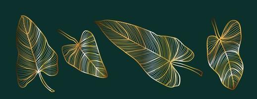 Abstract gold outline leaf set vector