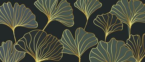 Abstract retro gold ginkgo leaves vector