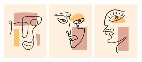 Abstract contemporary modern trendy line face set vector