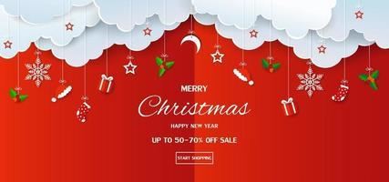 feliz navidad y próspero año nuevo fondo de banner de venta vector
