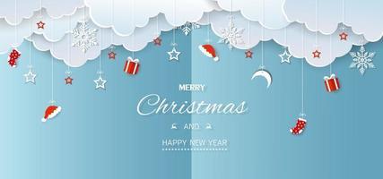 feliz navidad y próspero año nuevo banner de vacaciones de invierno vector