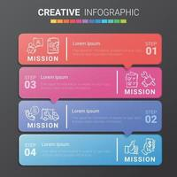 Abstract infographics number options template with steps, with 4 label. Can be used for workflow layout, diagram, business step options, banner. vector
