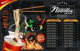 Instant cup noodles menu template