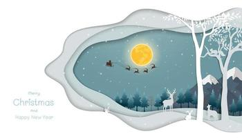 Merry Christmas and Happy new year greeting card, night scene winter background with Santa Claus flying on sleigh pulled by reindeer over forest