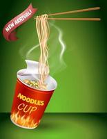 Instant cup noodles design vector