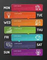 concepto de negocio de presentación para la semana, se puede utilizar para el diseño de flujo de trabajo, diagrama, opciones de pasos comerciales, banner. vector