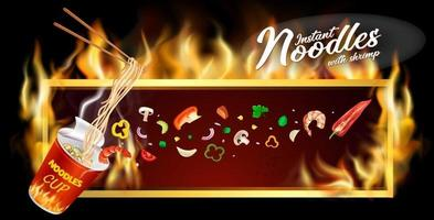 Instant cup noodles banner design vector